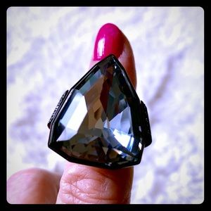 SWAROVSKI Large Smokey Gray Crystal Ring
